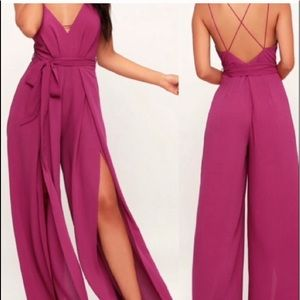 Lulus Hype Dream Magenta Backless Jumpsuit